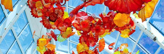 Chihuly glass sculpture-orange and yellow poppies on ceiling