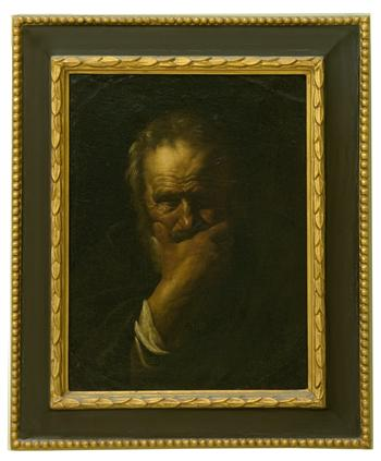 Heraclitus with hand over mouth, worried look